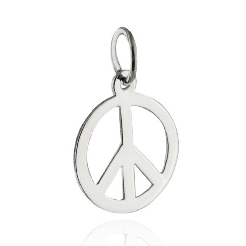 Paix Signe Charm-Argent Sterling 925-Open Hippy Art Flower Power Anti-guerre