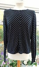 NEXT DARK BLUE & IVORY POLKA DOT CARDIGAN SIZE 16 GREAT CONDITION