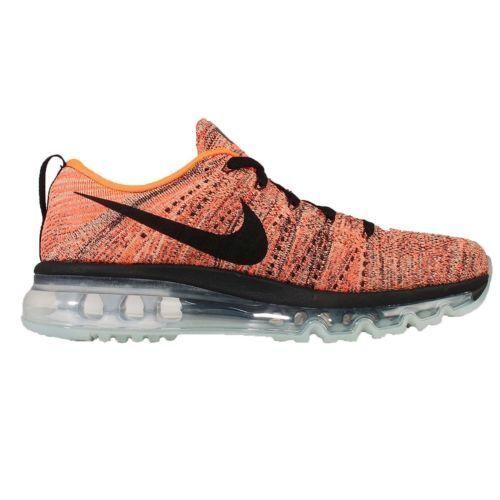 New Nike Women's Flyknit Max Black/Hyper Orange-Sunset Glow 620659-008