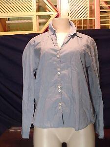 Women-039-s-Misses-Liz-claiborne-Size-M-Blue-LS-Button-Down-shirt-EUC