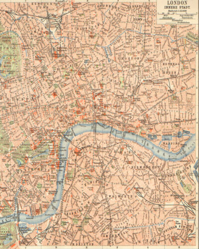 Vintage Art Print Poster London vintage map A1 A2 A3 A4 A5