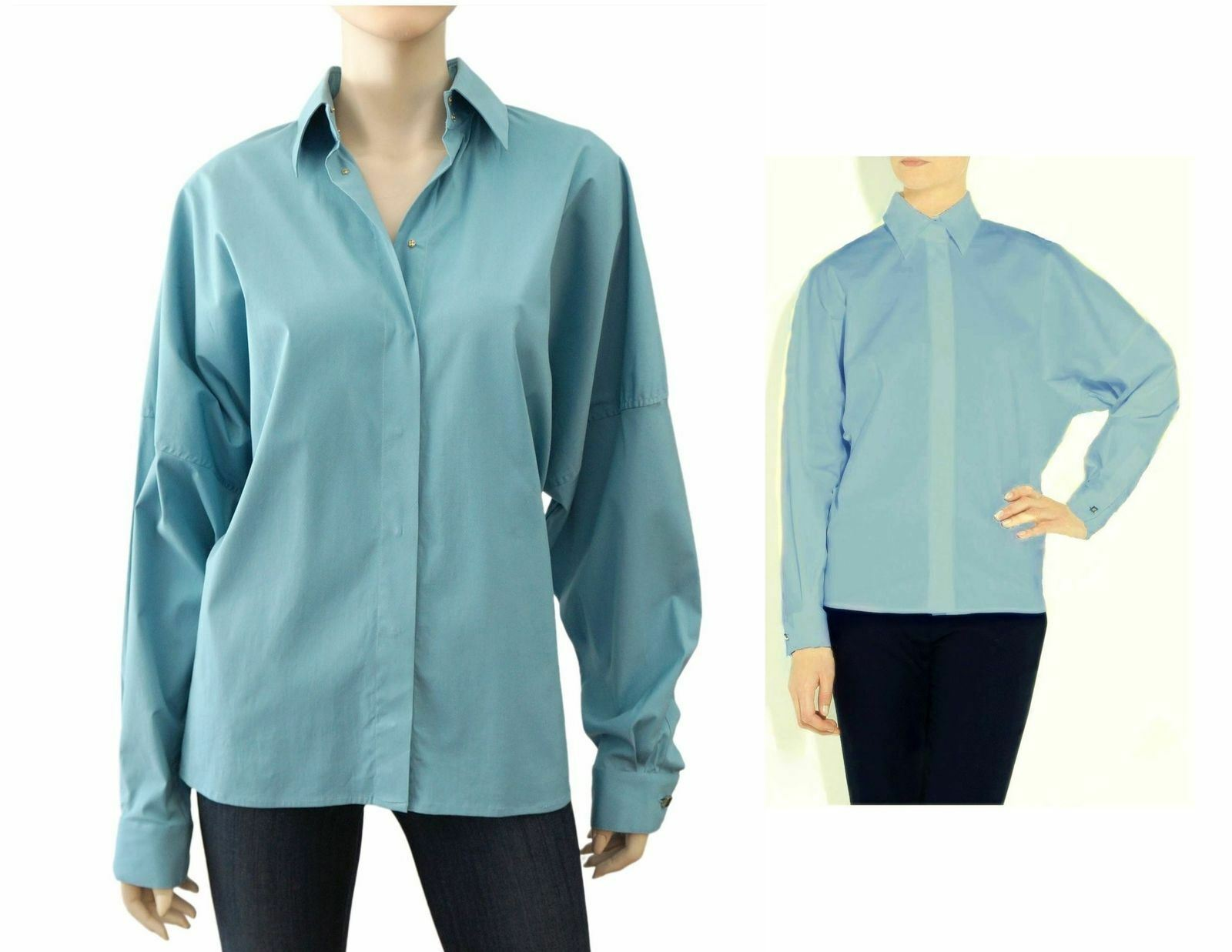 THE ROW Blau Cotton Poplin Dolman Sleeve Hemerton Shirt 10 NEW WITH TAGS