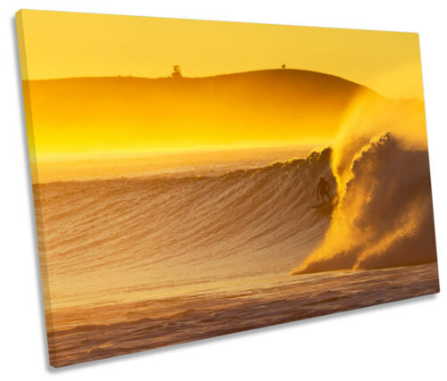 Surfer Sunset Beach Wave Surf SINGLE CANVAS WALL ART Picture Print