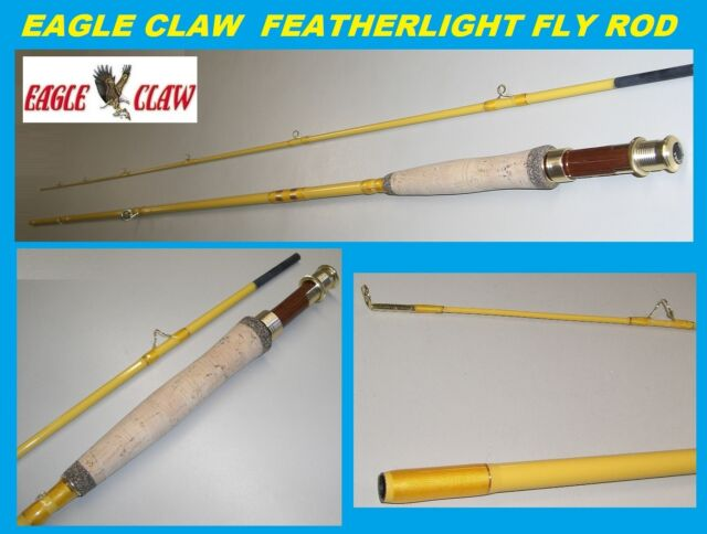 EAGLE CLAW Featherlight 5/6 Line Weight Fly Rod, 2 Piece (Yellow, 8') #FL300-8