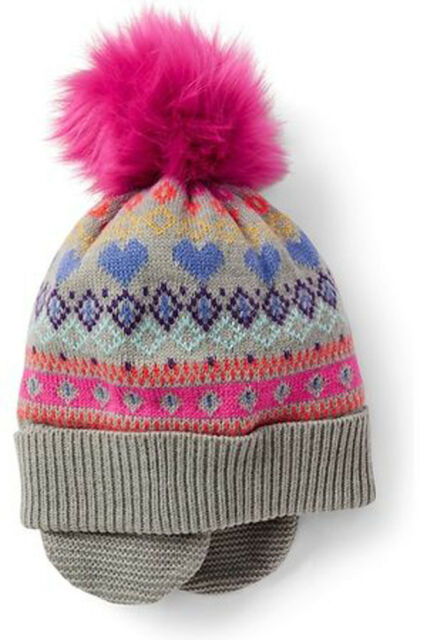 4bcefdae3f8ca Gap Kids NWT Gray Pink Fair Isle Pom Pom Flap Warm Fleece Lined Hat ...