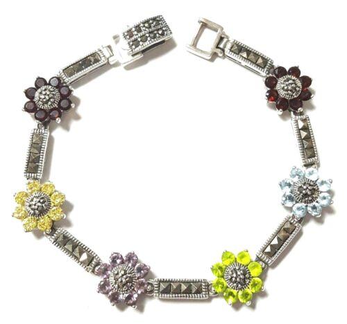 Multi Pierres Fleurs Bracelet avec marcassite Pierres Argent Sterling .925 7.25-in