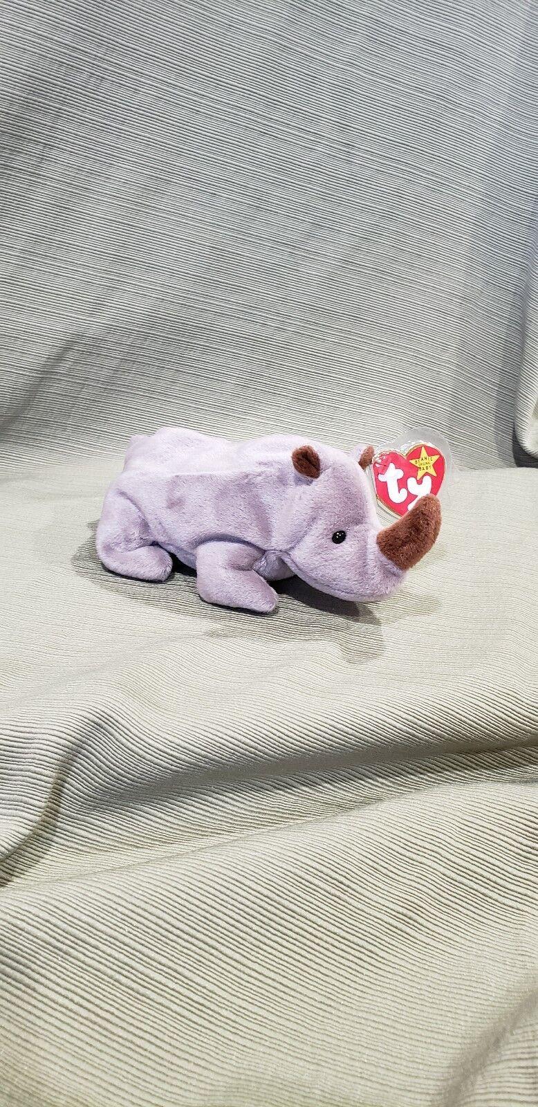 Ty Beanie Baby Spike the Rhinoceros w Errors 1996 PVC  Style New  Retired
