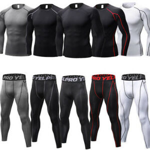 Men-Compression-Thermal-Base-Layer-Tights-T-Shirt-Top-Long-Pants-Gym-Activewear