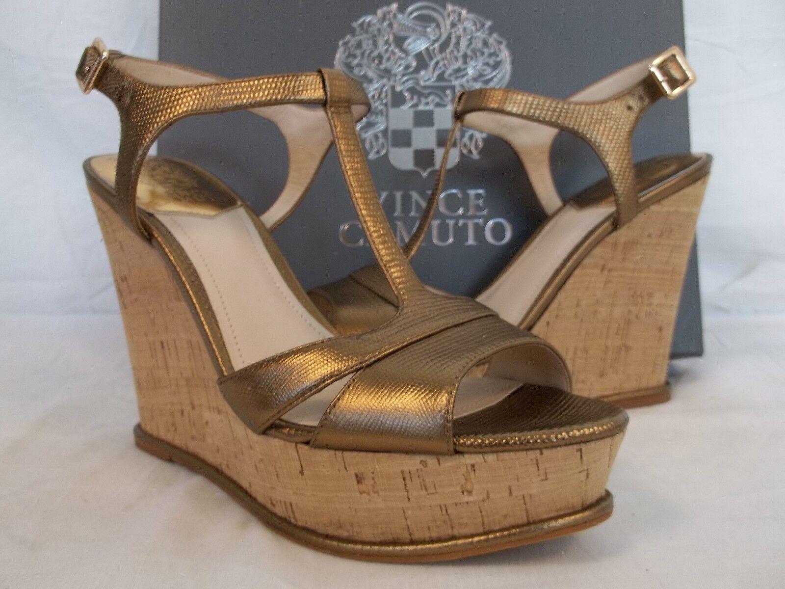 Vince Camuto Größe 9.5 M Inslo Copper Leder Open Toe Wedges NEU Damenschuhe Schuhes