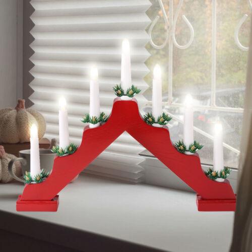 LED Weihnachts Leucht Schwib Bogen Tisch Dektoration X-MAS Kerzen Halter Lampe
