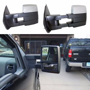 For-2007-14-Ford-F150-Pickup-Towing-Power-Heated-Pair-Tow-Mirrors-Signal-puddle