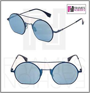 3923331bf94 FENDI EYELINE FF0291S Navy Blue Flash Mirrored Flat Metal Sunglasses ...