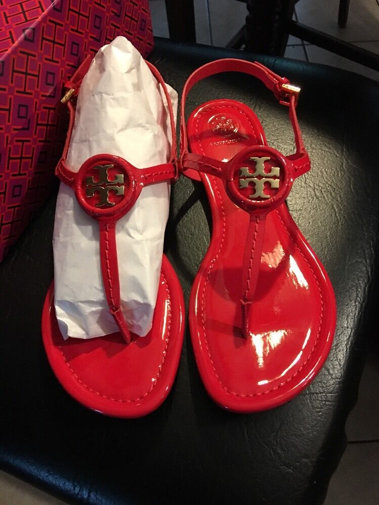 Tory Burch Dillan Sandal Soft Patent leather Ruby NIB 9.5 Authentic Shoes Donna