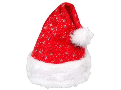 Weihnachtsmütze Nikolaus-Mütze Weihnachten m Pelzrand glitzer rot Kinder 01a