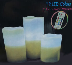3 Flameless Candles Colour Changing LED Mood Remote Control Wax Vanilla Scented