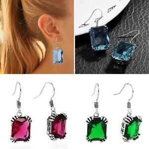EG-Silver-Plated-Big-Rhinestone-Inlaid-Women-Dangle-Hook-Earrings-Jewelry-Cheap