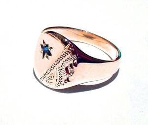 Signet-Ring-Sapphire-Men-039-s-Rose-Gold-Gent-039-s-UK-Hand-Made-Hallmarked-Cushion