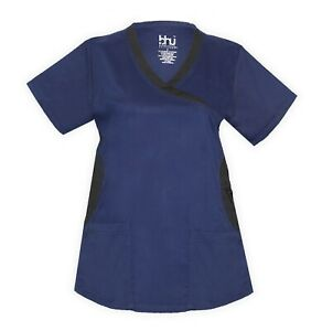 Medical-Nursing-Women-Stretch-Scrub-Top-Hospital-Nurse-Clinic-Uniform-Shirt