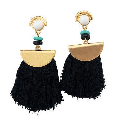 Hot Selling European Fashion Gold Plated Charm Colorful Thread Tassel Earrings