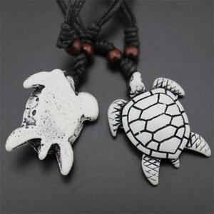 Unisex-Carved-Turtle-Pendant-Amulet-Imitation-Yak-Bone-Necklace-Jewelry