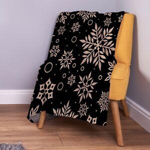 Black-amp-Gold-Snowflake-Christmas-Design-Soft-Fleece-Throw-Blanket