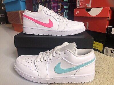 Nike Air Jordan 1 Bajas Blancas Multi Color Swoosh Luz Aqua