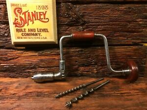 Vintage-Stanley-No-975-10-034-Ratcheting-Brace-Drill-with-2-Drill-Bits