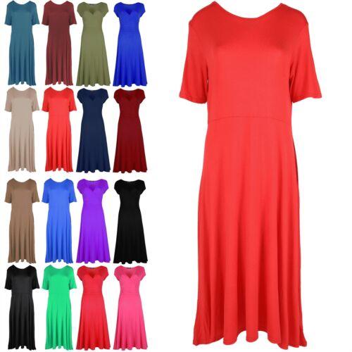 Womens Ladies A-Line Cap Sleeve Swing Skater Dress Plain Flared Franki Long Top