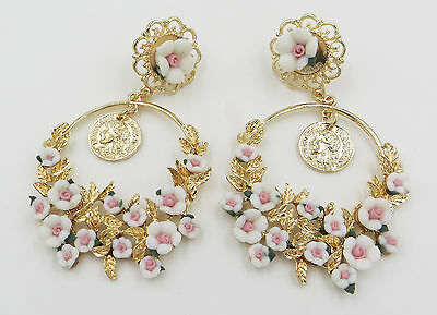 Latest Charm Elegant Vintage Gold Queen Head Flower Stud Earring Party Jewelry