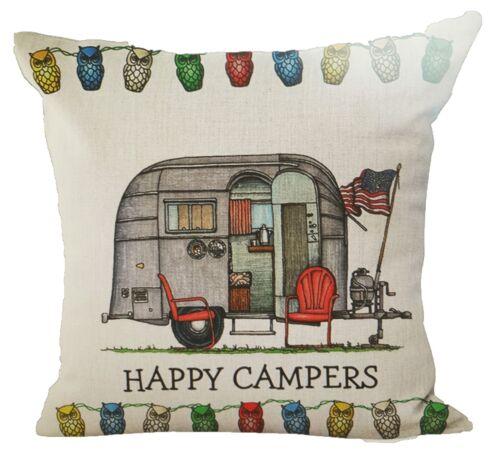 RARE DESIGNS Linen Cushion Cover UK Seller! HAPPY CAMPER CARAVAN MOBILE HOME