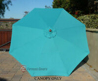 9ft Umbrella Replacement Canopy 8 Ribs In Turquoise (canopy Only)