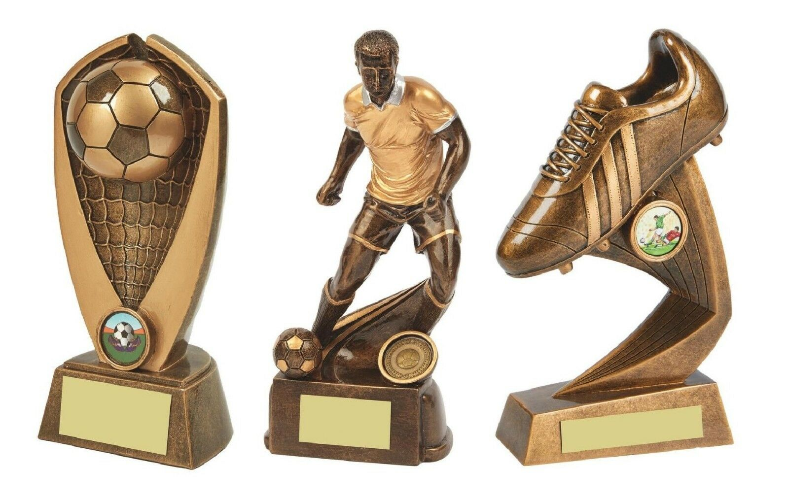 3 x 8 inch (21 cm) Football Trophy Awards engraved + postage free (RRP .65)