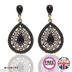Image Is Loading New Pear Black Crystal Drop Earrings Gold Long