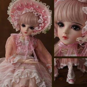BJD Doll 1//3 Ball Jointed Girl Dolls Free Face Makeup Wig Clothes EYES WHOLE SET