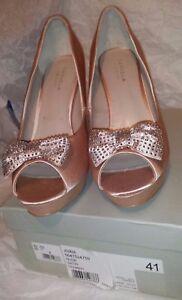 Carvella delantera plataforma 41 Zapatos Diamante talla Nude con Bow Bnib ZnXCPwx