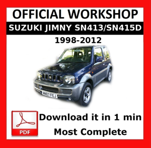 official workshop manual service repair suzuki jimny sn413 sn415d rh ebay co uk Parts Manual suzuki jimny m13a workshop manual pdf