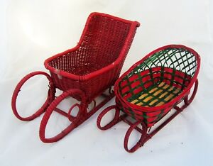 Set-of-2-Empty-Wicker-Basket-Santa-Doll-Sled-Sleigh-Holiday-Christmas-Decor-Lot