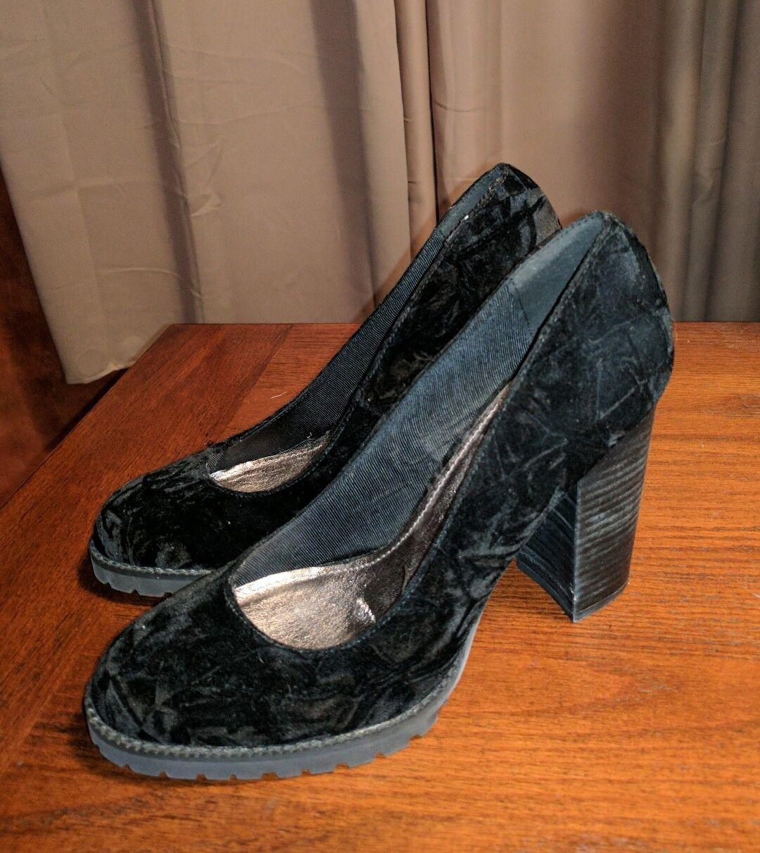 NEU MATISSE JASS CRUSH VELVET HEELS BLACK Schuhe CLASSIC CHUNKY 7.5M