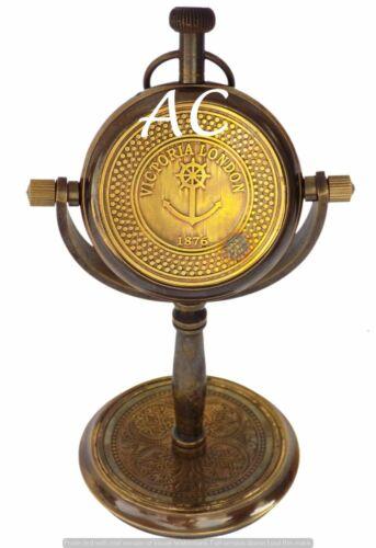 Vintage Desk Clock Victoria London 1876 Ship Anchor Wheel Engraved Table Clock