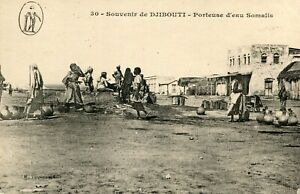 Carte-Souvenir-de-DJIBOUTI-Porteuse-d-039-eau-Somalis