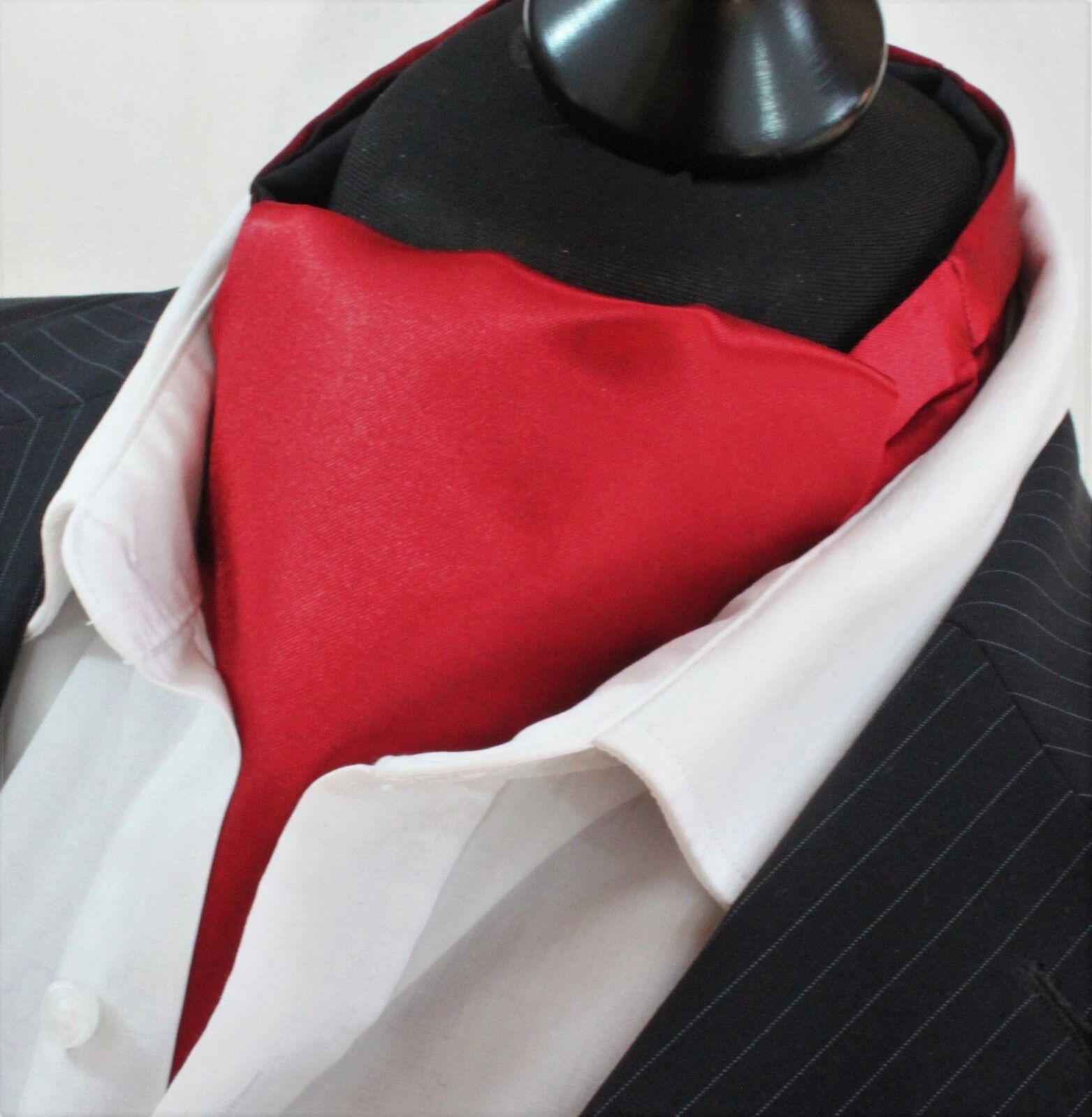 Cravat Ascot+ Hanky SILKY Deep Red SATIN UK MADE