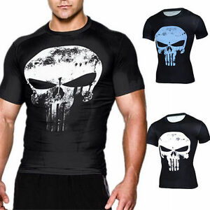 Cool-Mens-GYM-The-Punisher-Slim-Shirt-Tops-Skull-Ghost-Sports-Casual-T-shirt