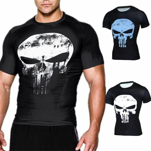 Cool Mens GYM The Punisher Slim Shirt Tops Skull Ghost Sports Casual T-shirt