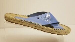 Tory-Burch-Women-Patent-Leather-Bima-Espadrille-Flat-Blue-Strap-Sandals-Sz-9-5-M
