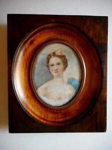Grande-miniature-Portrait-d-039-une-Jeune-femme-Peinture-a-l-039-huile-XIX