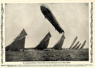 """Adaptable Der Zeppelin-luftkreuzer """"viktoria Luise"""" Bei Segelregatta Kieler Föhrde C.1912 Sammeln & Seltenes"""