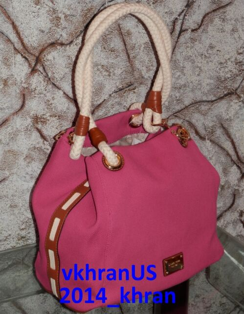3725a8043c04 NWT MICHAEL KORS Large Marina Anchor Rope Raspberry Pink Canvas Grab Beach  Tote