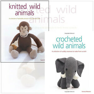Knittted Crocheted Wild Animals Collection 2 Books Set Crocheted