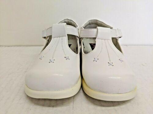 Vegace Toddler Infant Girl Walking White Leather Shoe Hook Loop Fastener As-Is