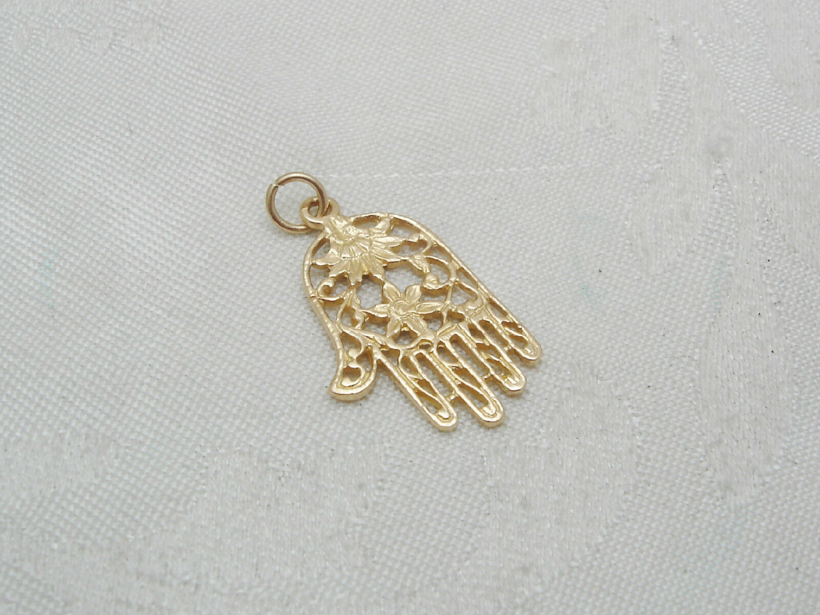 Hand with FLORAL Design 14k Solid Yellow gold Charm or Pendant 158-T